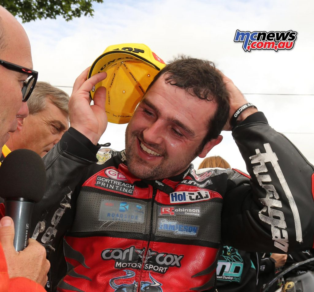 Michael Dunlop being interviewed after winning the opening Supersport TT of TT 2017
