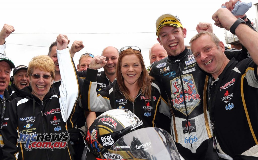 Peter Hickman celebrates this third place finish with the Smiths Racing Team