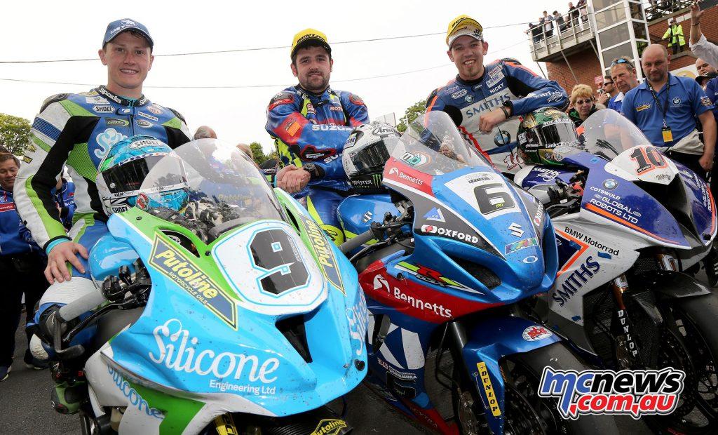 Senior TT Podium - Dean Harrison 3rd - Michael Dunlop 1st - Peter Hickman 2nd
