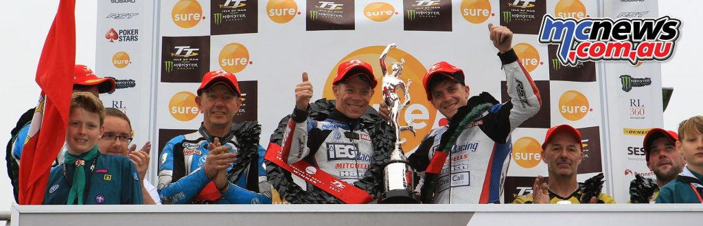 Tom and Ben Birchall victorious in the opening Sidecar TT win at IOMTT 2017 - John Holden/Lee Cain 2nd and Dave Molyneux/Dan Sayle third