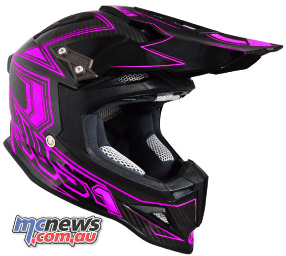 Just1 J12 Carbon Fluro Helmet in Fluro Pink also features a removable and washable liner