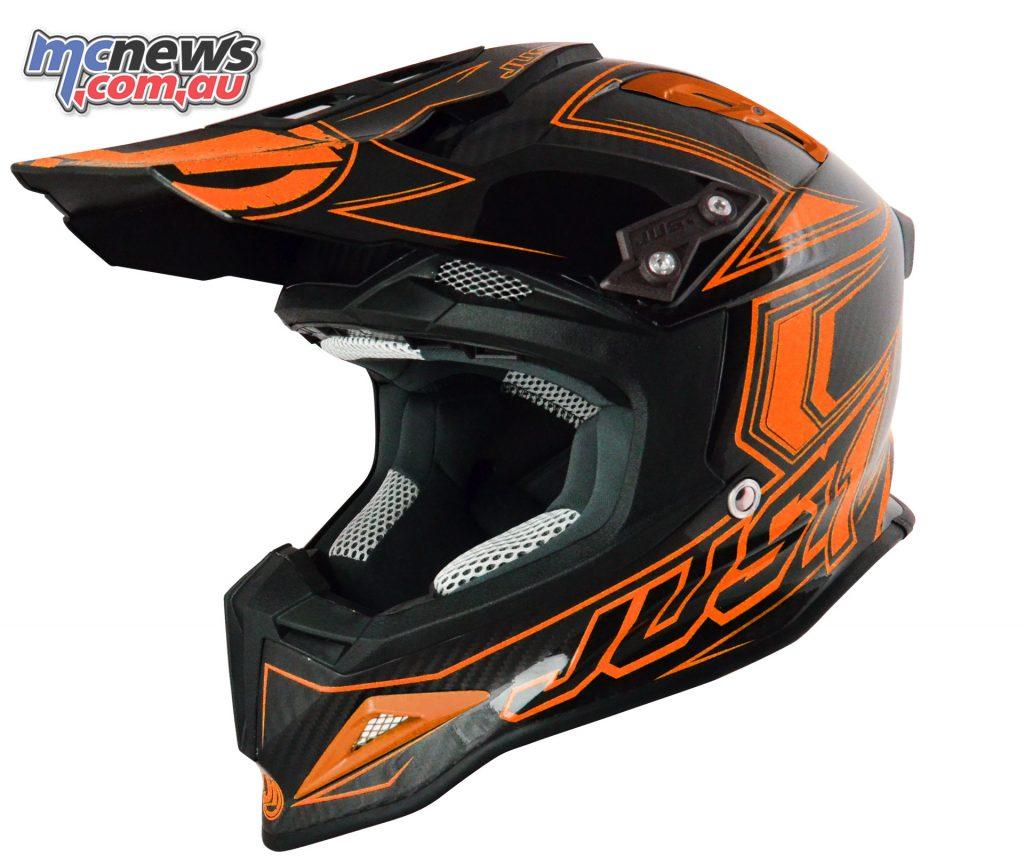 Just1 J12 Carbon Fluro Helmet in Fluro Orange
