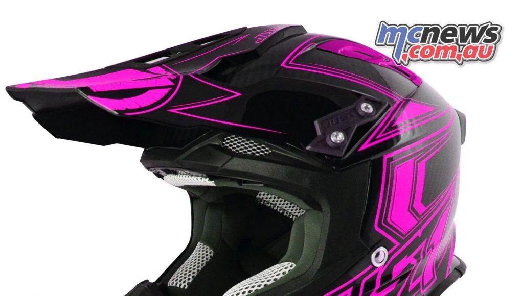 Just1 J12 Carbon Fluro Helmet in Fluro Pink