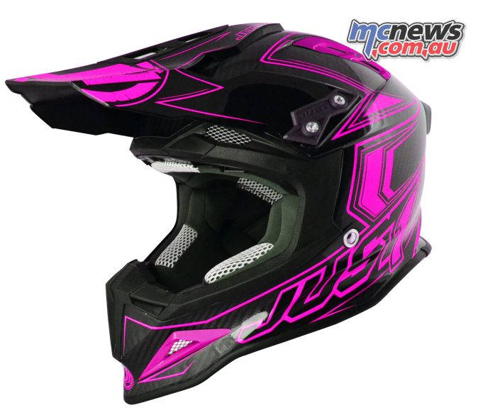 Just1 J12 Carbon Fluro Helmet in Fluro Pink