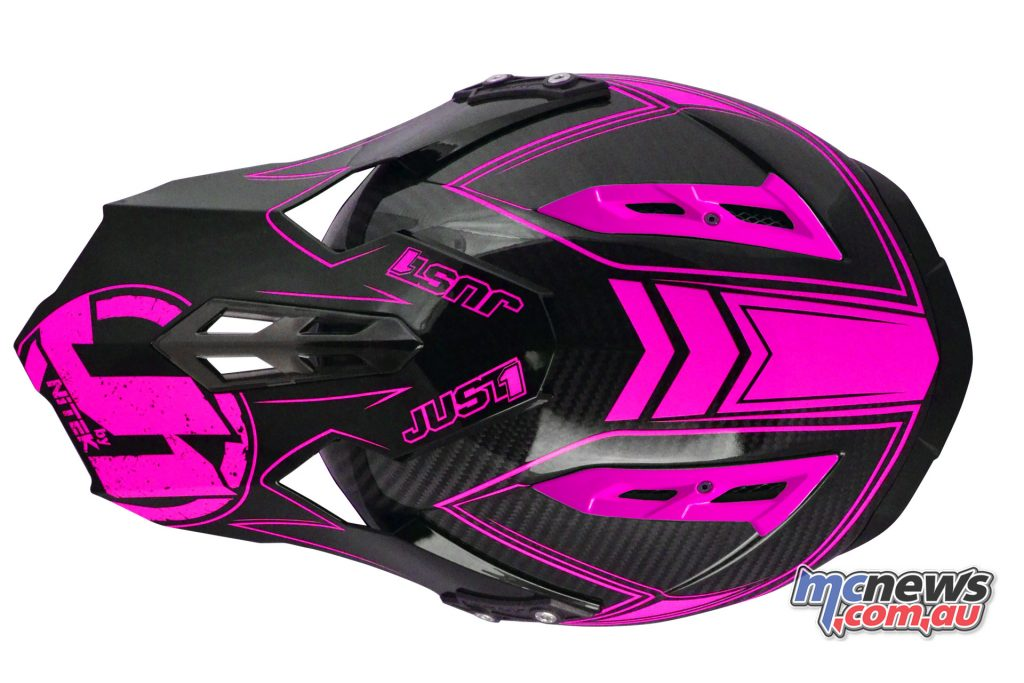 Just1 J12 Carbon Fluro Helmet in Fluro Pink with carbon-shell and eye-catching graphicsJust1 J12 Carbon Fluro Helmet in Fluro Pink with carbon-shell and eye-catching graphics
