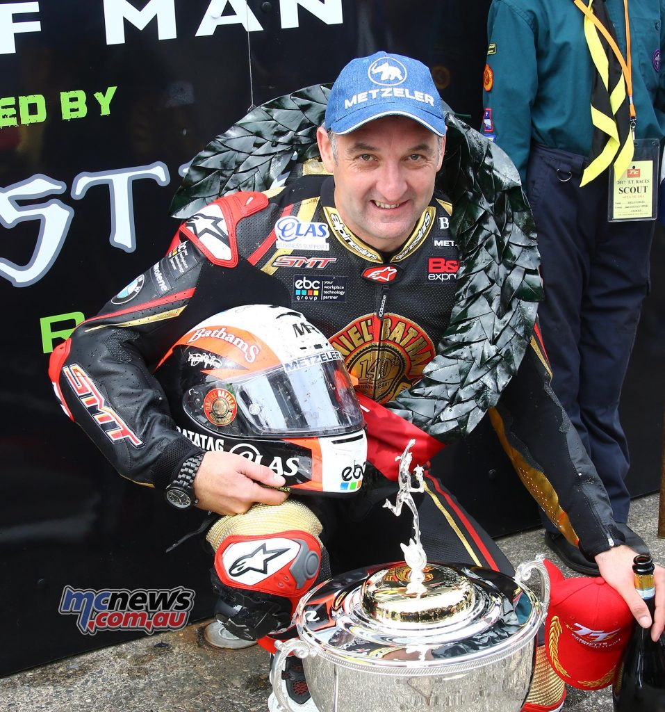 Michael Rutter took his first TT win since 2013, and his fifth in total, when he won Wednesday afternoon's Bennetts Lightweight TT race at the 2017 Isle of Man TT Races