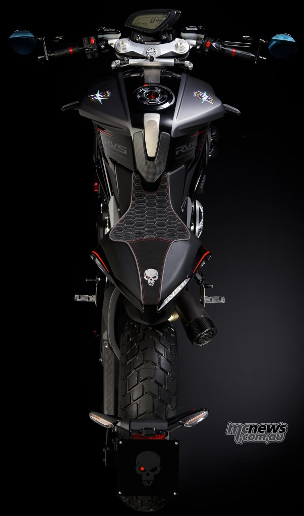 A revised tank and seat offer the ability to add titanium details and better comfort