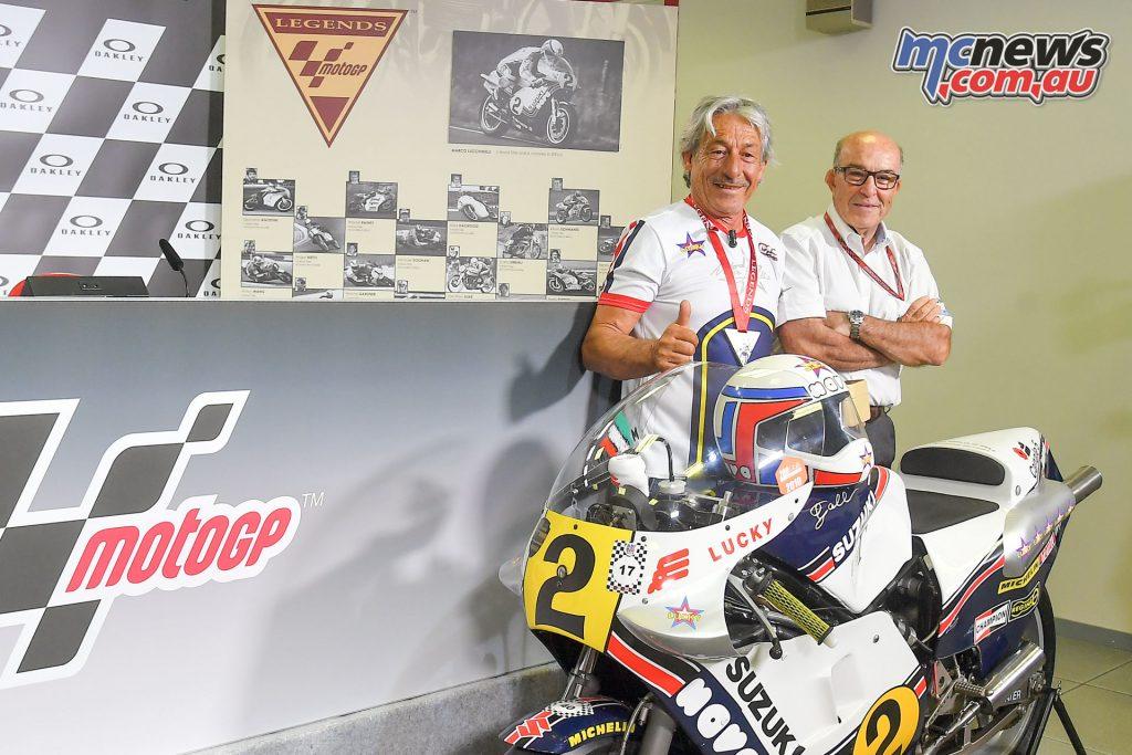1981 500 World Champion Marco Lucchinelli and Dorna CEO Carmelo Ezpeleta
