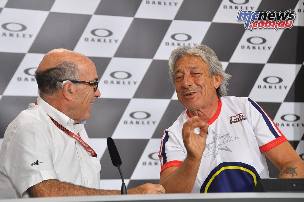 Marco Lucchinelli and Dorna CEO Carmelo Ezpeleta