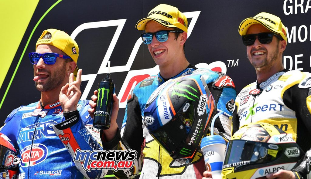 Moto2 Race Results Alex Márquez (SPA - Kalex) 42'40.502 Mattia Pasini (ITA - Kalex) + 3.525 Thomas Lüthi (SWI - Kalex) + 4.452