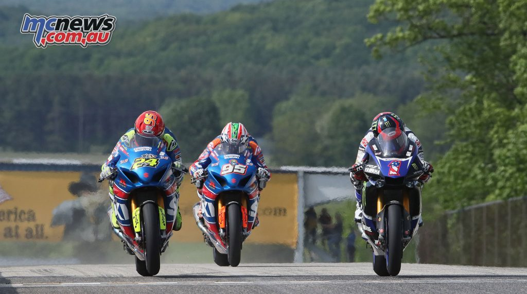 Cameron Beaubier, Toni Elias and Roger Hayden in Race 1 - Image by Brian J. Nelson