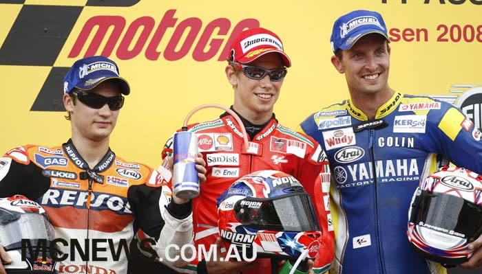 MotoGP 2008 - Image by AJRN - Casey Stoner won the race from Dani Pedrosa and Colin Edwards
