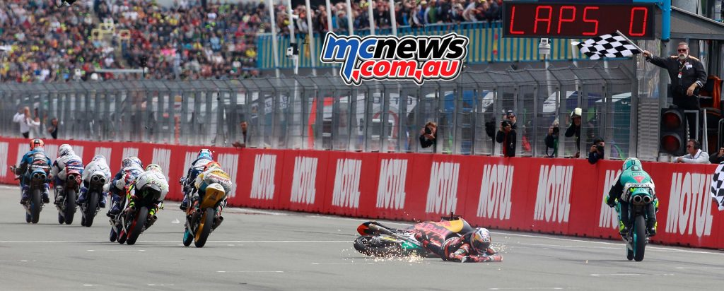 Both Bendsneyder and the bike crossed the line in the top ten, but the rider was not in contact with his machine, meaning he isn't classified.