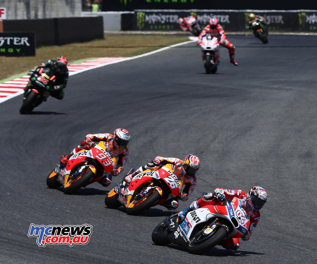The Hondas of Marquez and Pedrosa proved fast despite the track conditions