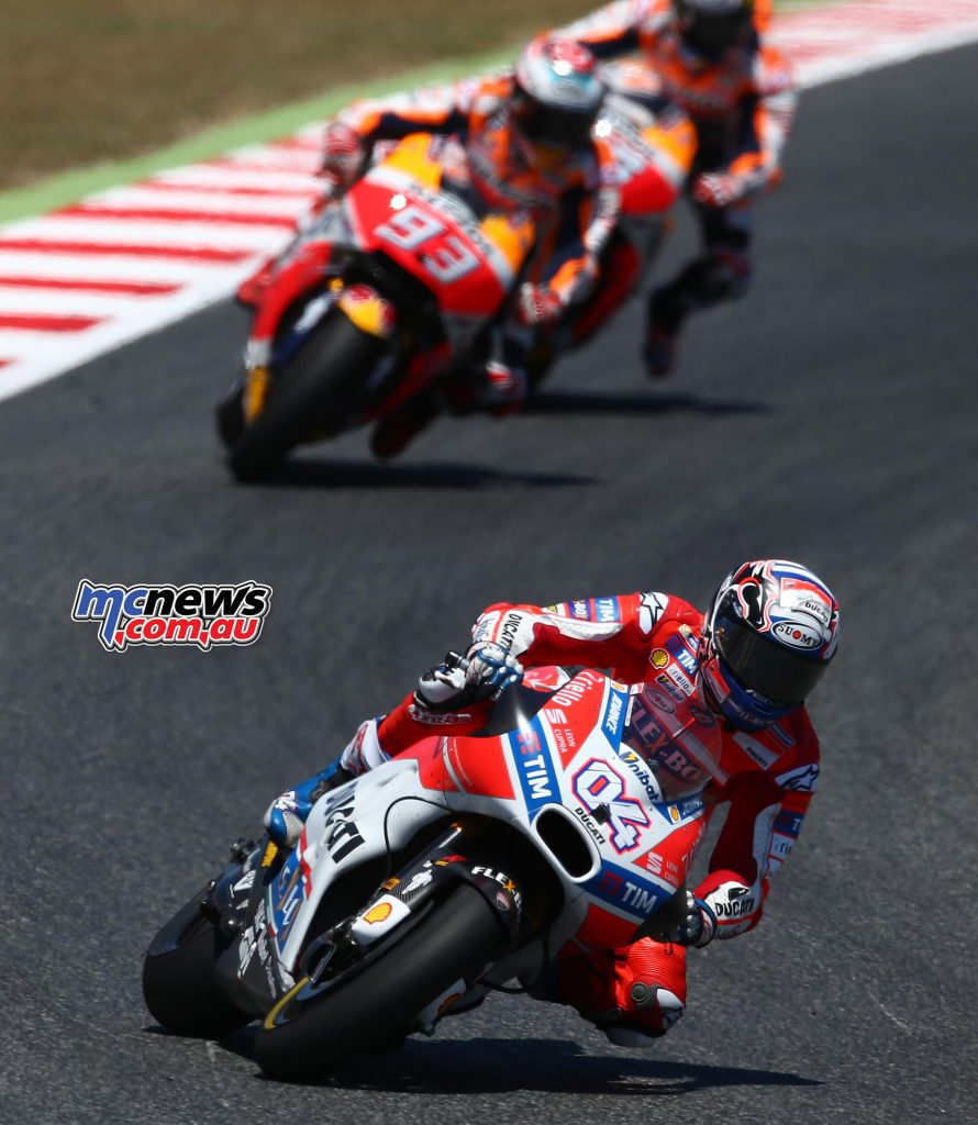 Dovizioso went on to a hard earnt victory, with Marquez and Pedrosa completing the podium