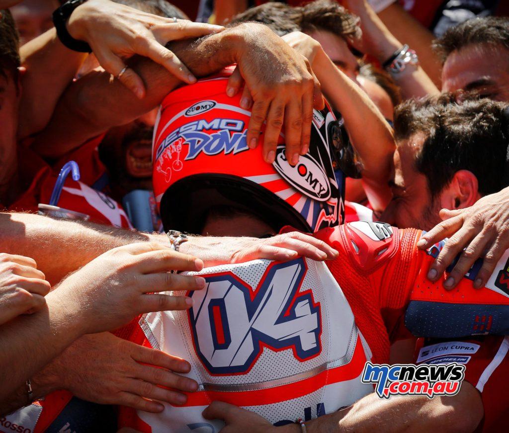 Andrea Dovizioso celebrates with Team Ducati at Catalunya