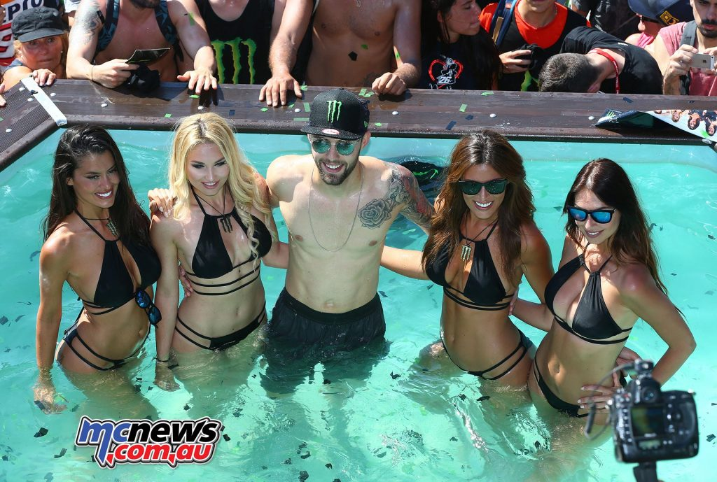 Jonas Folger taking a dip in that same pool, found himself in fifth at one point