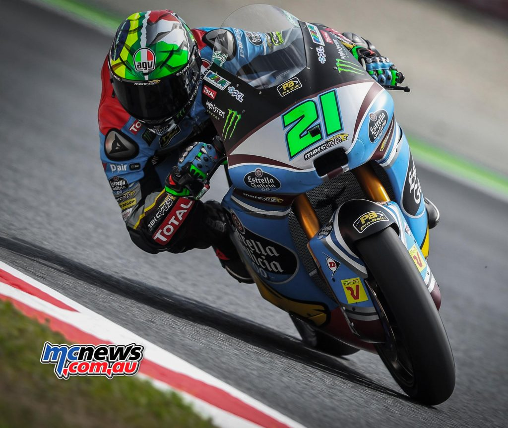 Franco Morbidelli (ITA), who crashed in FP2, was fastest on day one at Catalunya
