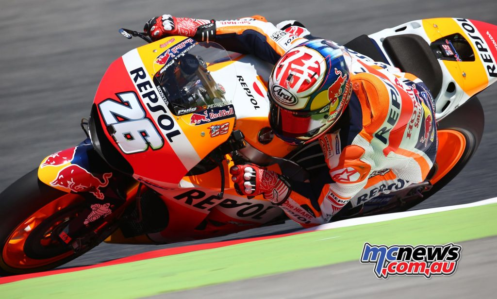 Pedrosa found himself in the lead, holding off Dovioso and Marquez
