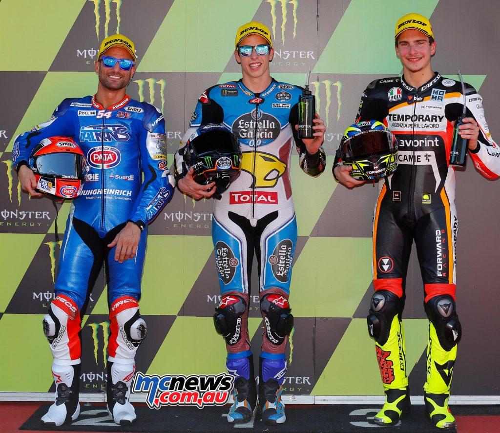 Moto2 Qualifying Results Álex Márquez (SPA - Kalex) 1'49.408 Mattia Pasini (ITA - Kalex) + 0.107 Lorenzo Baldassarri (ITA - Kalex) + 0.644