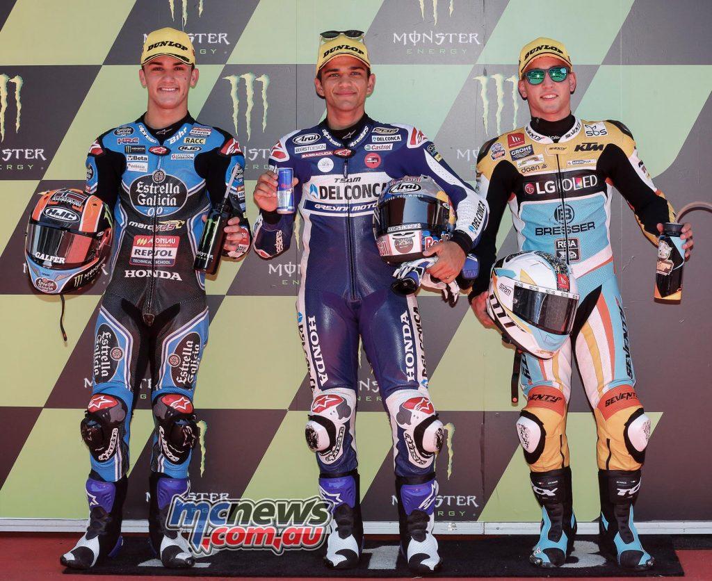 Moto3 Qualifying Results Jorge Martin (SPA - Honda) 1'53.368 Aron Canet (SPA - Honda) +0.627 Juanfran Guevara (SPA - KTM) + 0.659