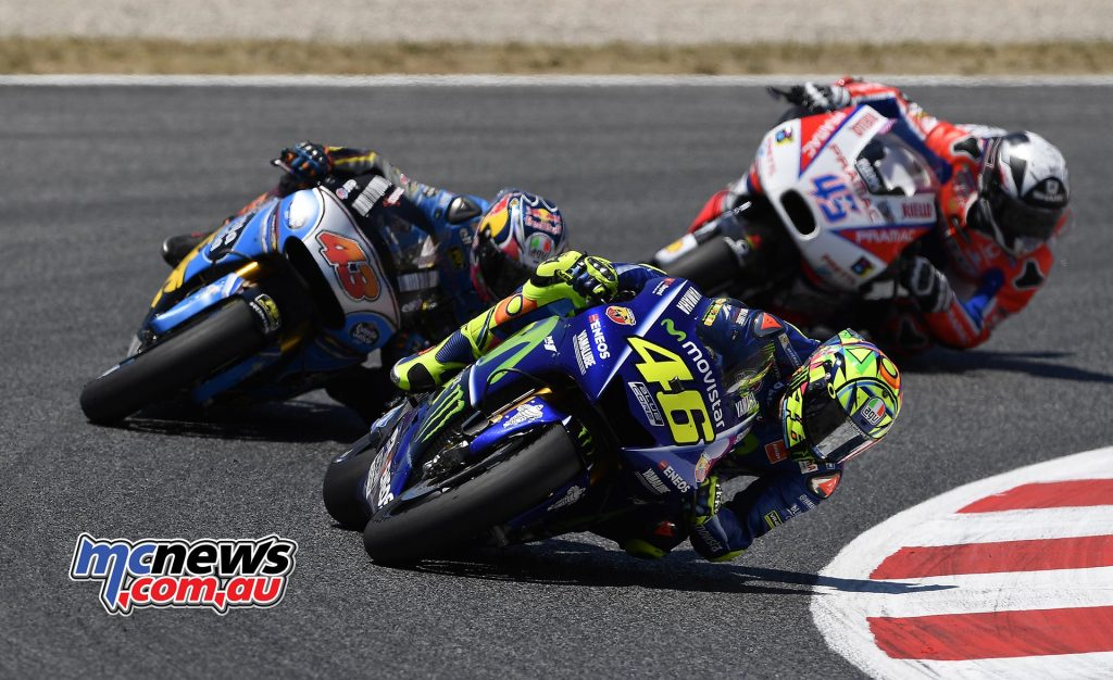 Scott Redding seen here chasing Jack Miller and Valentino Rossi early in the race