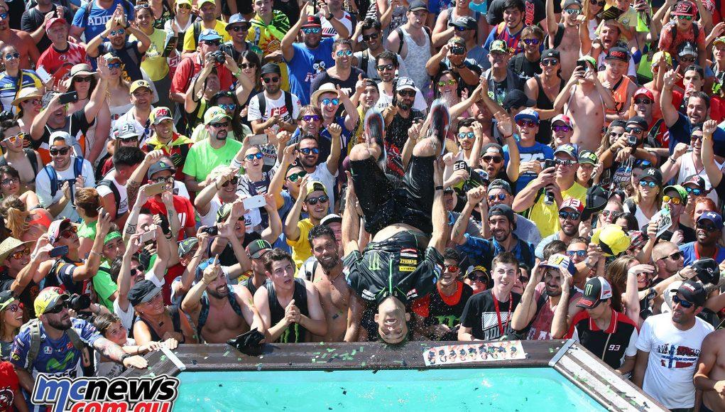 The pool of bikini-clad Monster promo girls