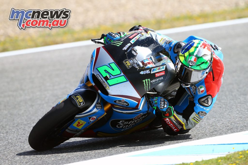 Franco Morbidelli is competing in and leading the Moto2 class at this point, this year