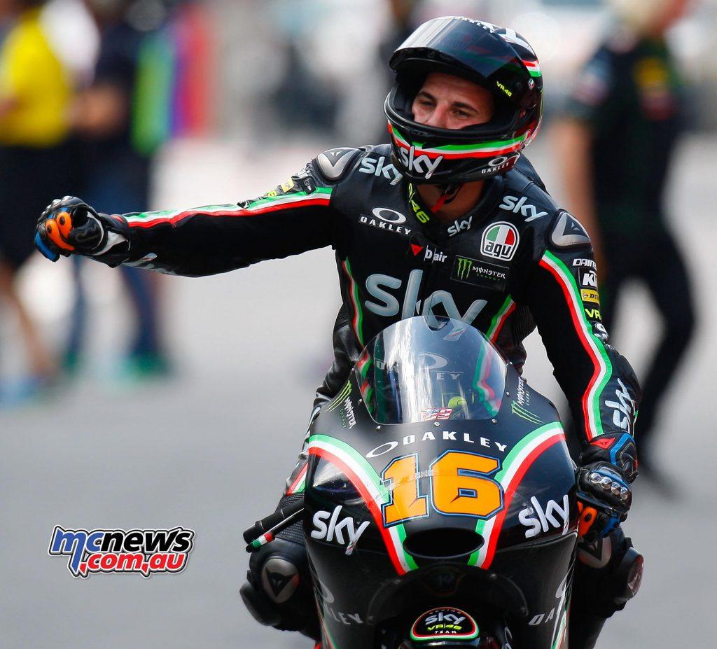 Andrea Migno celebrates victory at Mugello