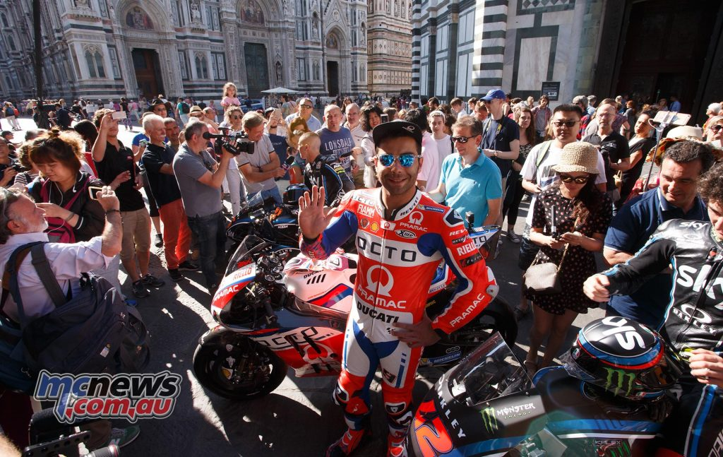 Local hero Danilo Petrucci surrounded by tourists and fans right by the iconic Firenze Duomo