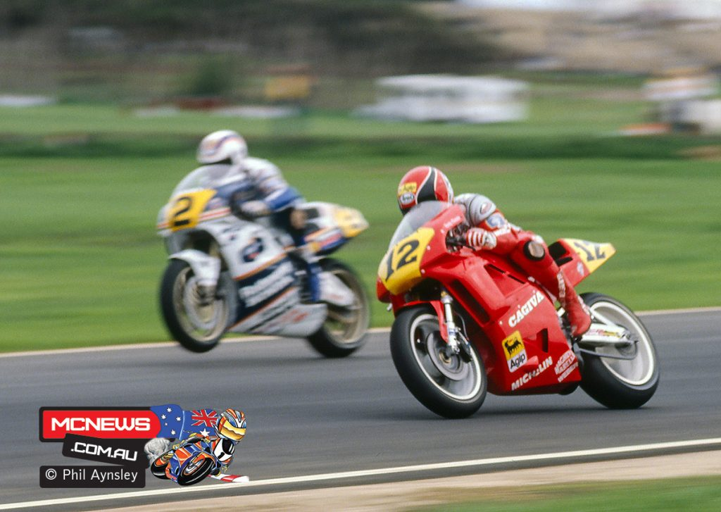 Randy Mamola racing Wayne Gardner - Phillip Island 1989 - Image by Phil Aynsley