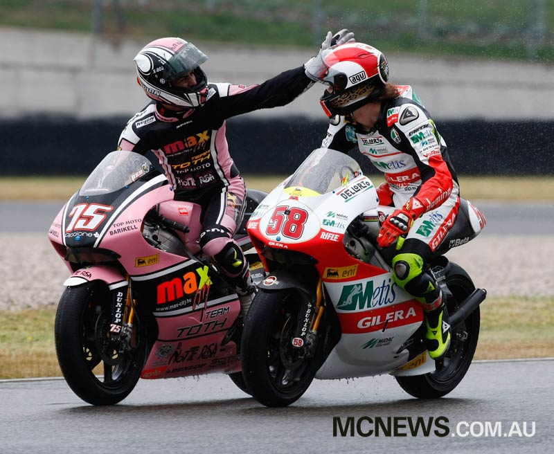 Mattia Pasini's previous win before Mugello 2017 was in the 250cc race at Mugello in 2009. Here he is seen on the cool down lap with Marco Simoncelli. Image by AJRN