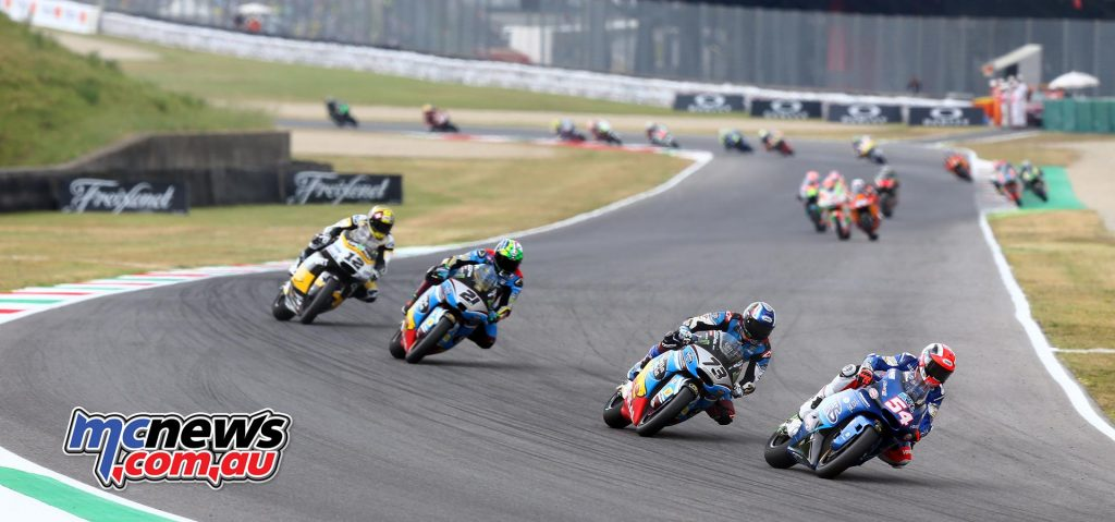 Franco Morbidelli pictured here holding down third place behind Marquez and Pasini. Luthi would eventually overcome both Morbidelli and Marquez to finish second. - Image by AJRN