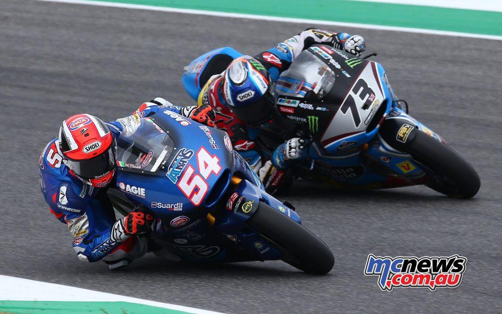 Mattia Pasini battles with Alex Marquez at Mugello