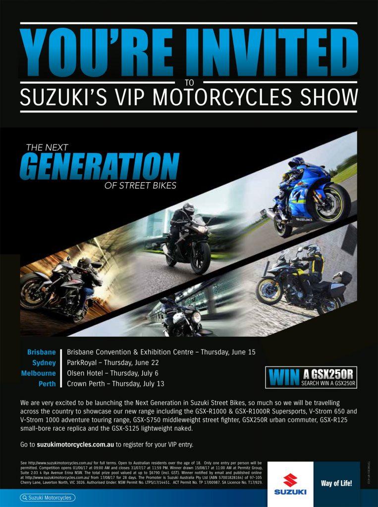 Suzuki's Motorcycle Road Show - Sydney, Melbourne, Perth