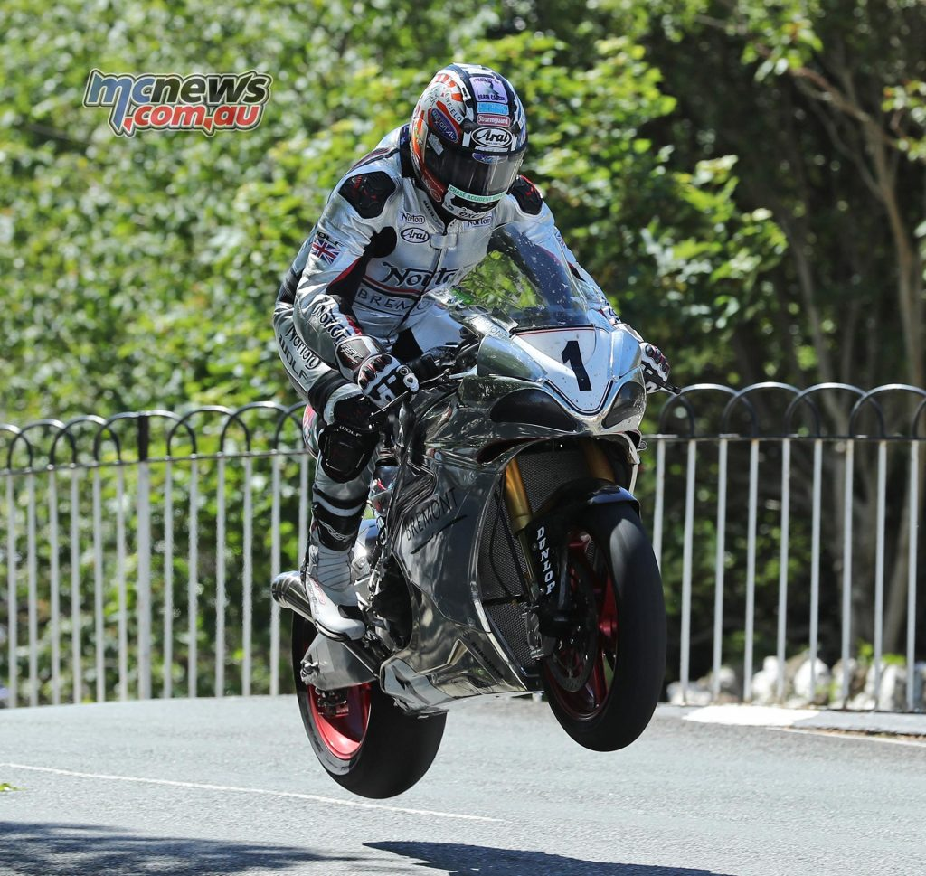David Johnson at Ballaugh Bridge during the Isle of Man RST Superbike TT race. Image Dave Kneen
