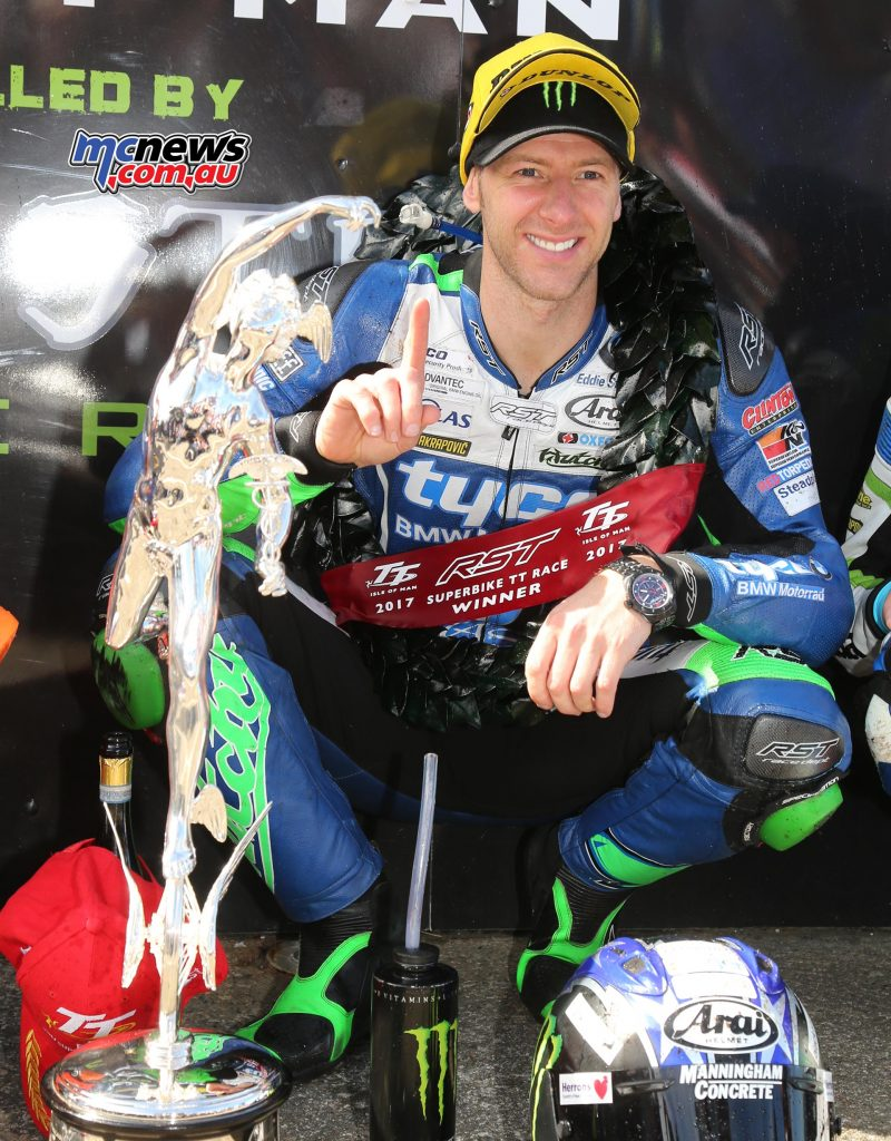 Ian Hutchinson celebrated his 15th TT win after victory in the six-lap RST Superbike Race at TT 2017