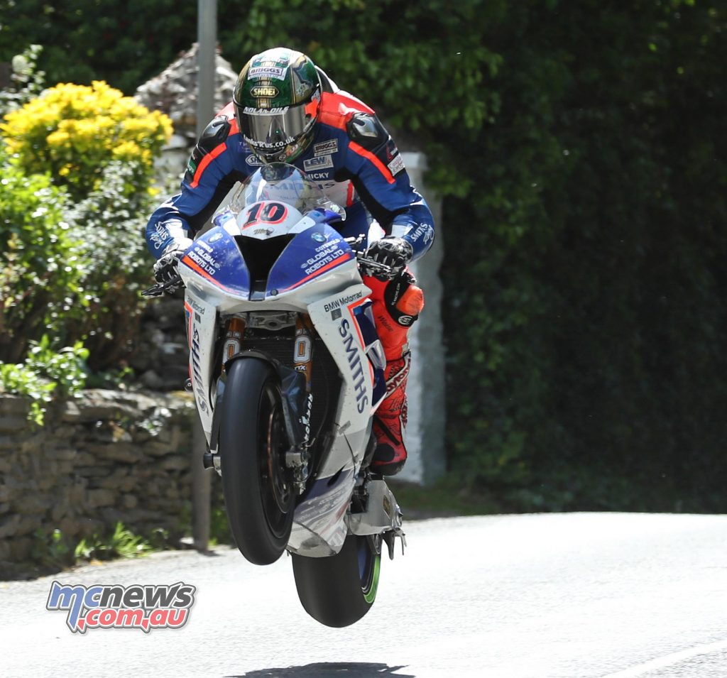 Peter Hickman at Ballacrye. Hickman set the fastest final lap to beat Dean Harrison home to second place.
