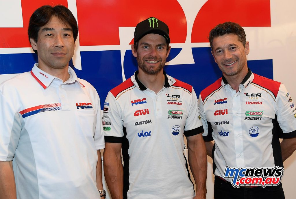 Tetsuhiro Kuwata HRC Director (General Manager Race Operations Management Division), Cal Crutchlow and LCR Honda Team Principal Lucio Cecchinello