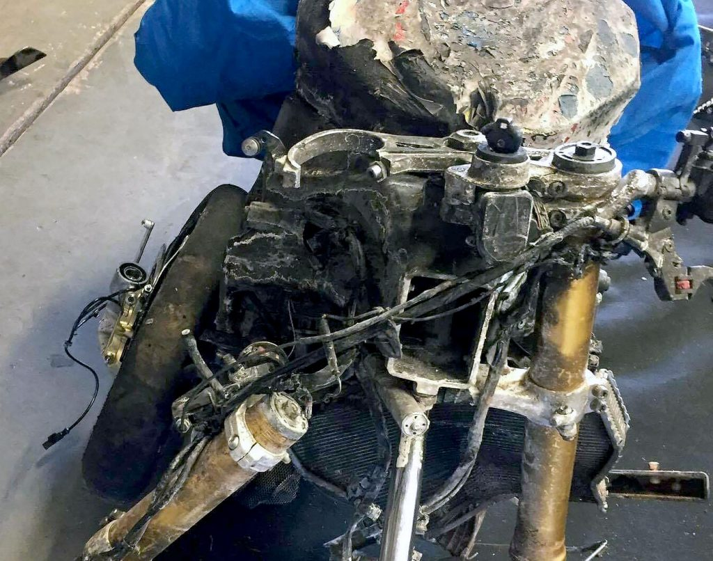 There wasn't much left of the NextGen Motorsports BMW S1000RR after a recent practice crash but we are glad to say Troy Guenther was not quite as badly beaten up and hopes to make the grid in Darwin. This particular bike, not so much...