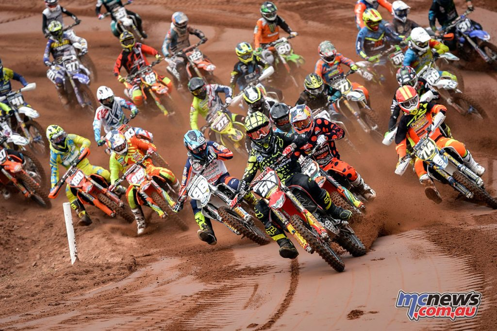 Martin Barr leading the field at the Maxxis ACU British Motocross Championship at Desertmartin