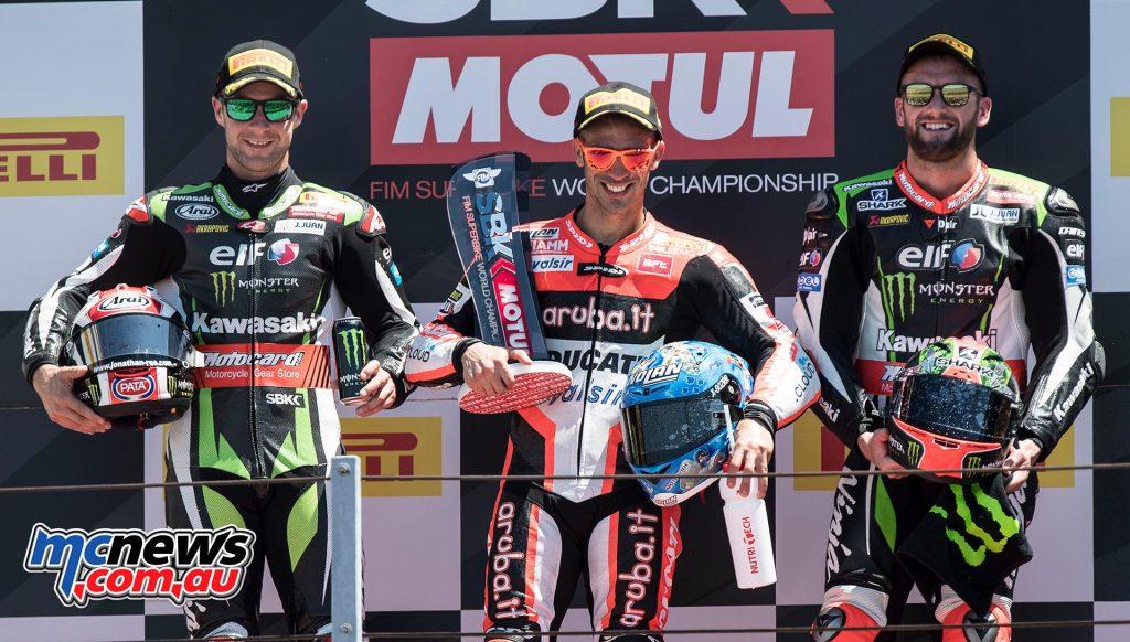 #RiminiWorldSBK at Misano World Circuit Marco Simoncelli: Race 2  Marco Melandri Ducati ITA 33'40.896 Jonathan Rea Kawasaki GBR 00'01.113 Tom Sykes Kawasaki GBR 00'01.285