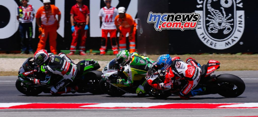 Ramos battling with Sykes and Melandri early in the race