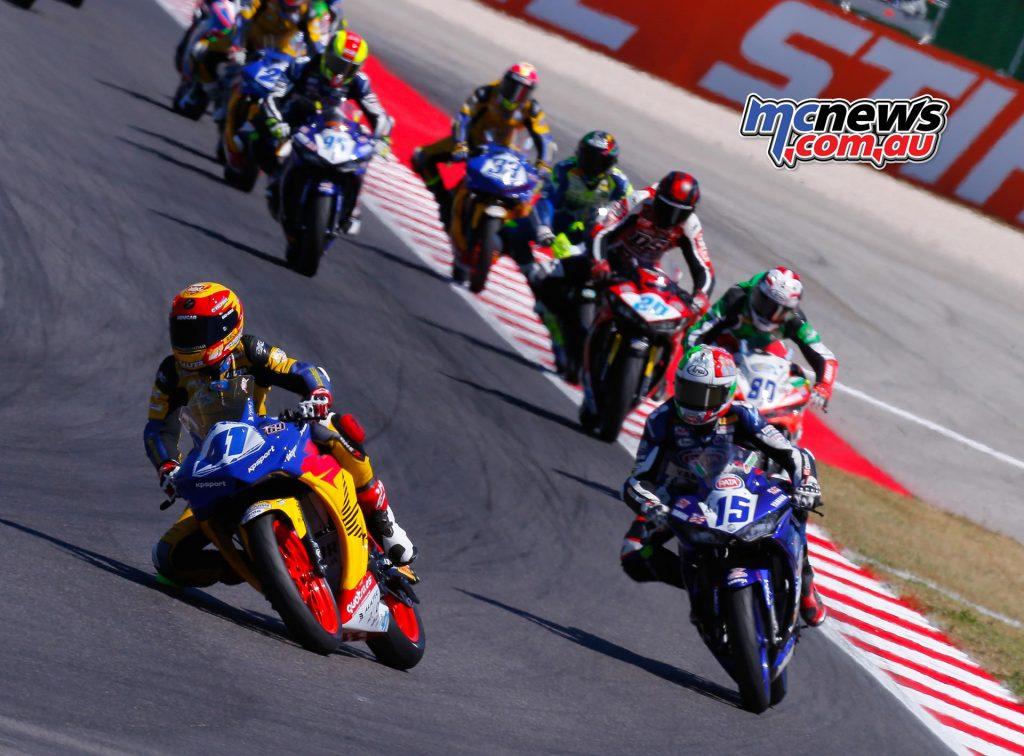 Marc Garcia (Halcourier Racing) leads Alfonso Coppola (SK Racing)