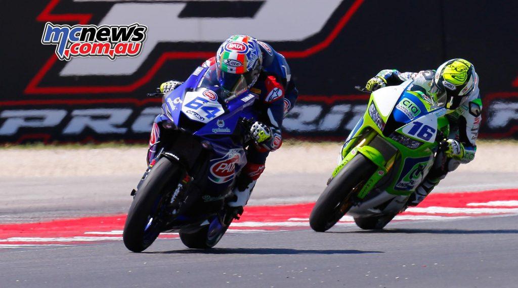 Federico Caricasulo Yamaha ITA battled with Jules Cluzel Honda FRA
