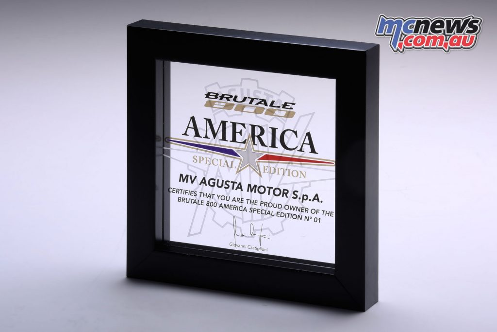The numbered Special Edition certificate which comes with every America
