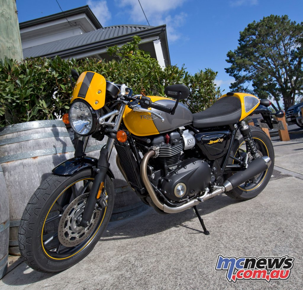The Street Cup is based on the Bonneville platform, offering a cafe racer themed option