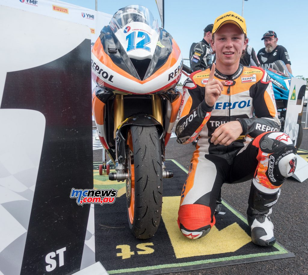 Mark Chiodo celebrates pole position at Hidden Valley with a new Supersport lap record