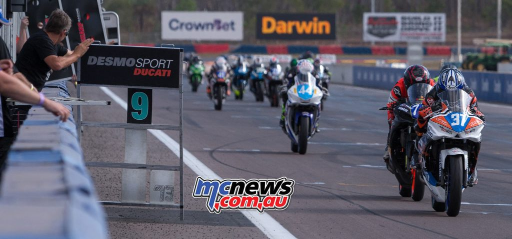 Jack Mahaffy leads a crazy Supersport 300 race at Hidden Valley