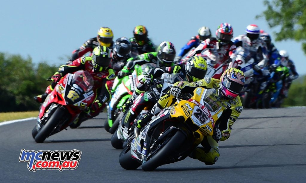 Josh Brookes leading the pack at Snetterton - Image by Jon Jessop